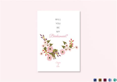 Floral Will You Be My Bridesmaid Card Design Template In Illustrator Indesign Word Psd Publisher Will You Be My Best Template