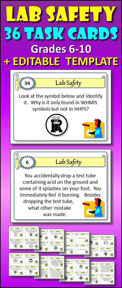 Editable Task Card Template by Lab Safety Task Cards With Editable Template
