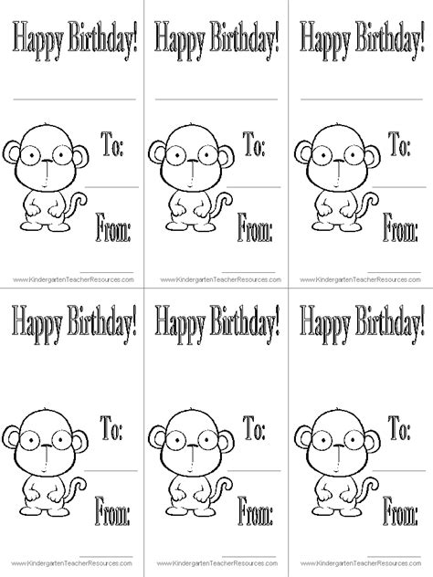 printable birthday cards with monkeys monkey worksheets and coloring pages