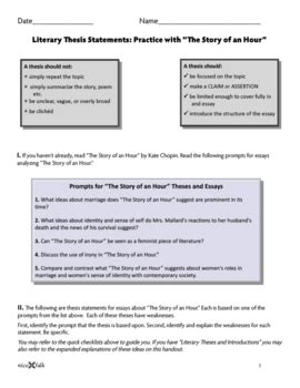 The Story Of An Hour Worksheet by Literary Thesis Worksheet And Key Based On Quot The Story Of