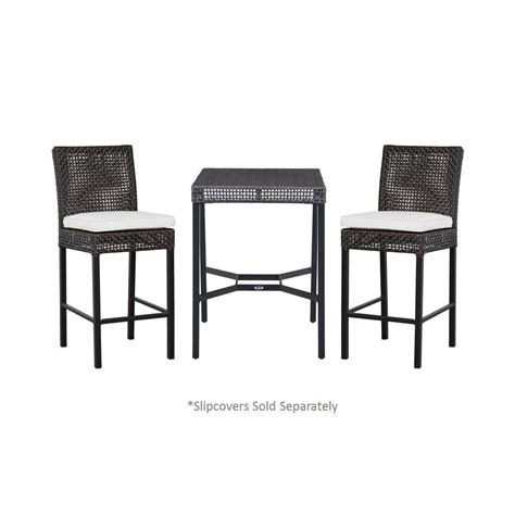 3 piece slipcover set hton bay fenton 3 piece patio high bistro set with