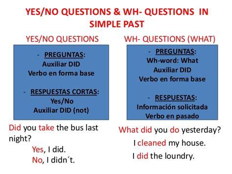 preguntas con did y what preguntas con did en simple past gallery