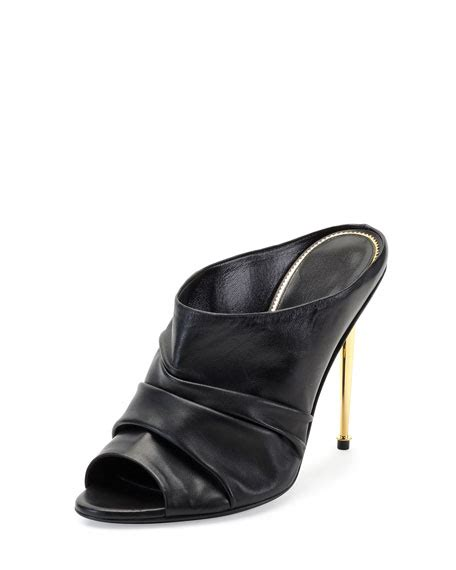 black leather high heel mules tom ford ruched leather high heel mule black