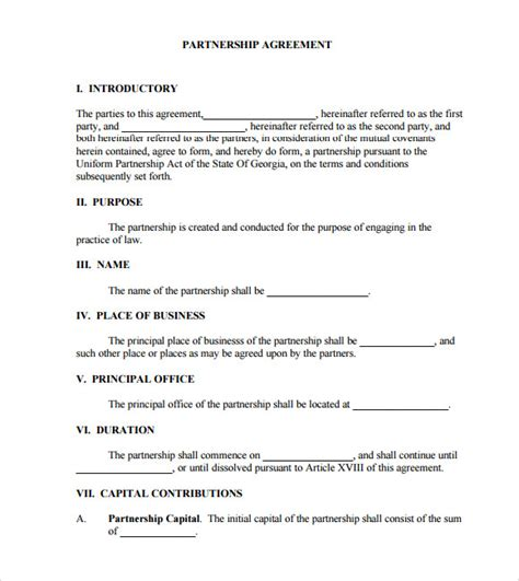 llc partnership agreement template sle business partnership agreement 9 documents in