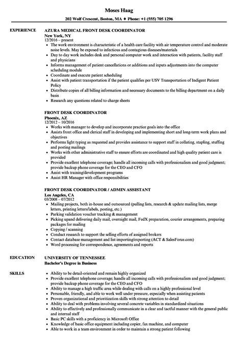 Front Desk Coordinator Resume Exles by Front Desk Coordinator Resume Sles Velvet