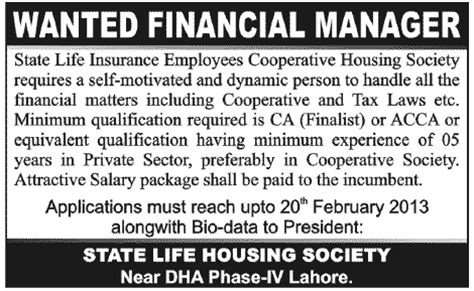 state life insurance housing society lahore financial manager job at state life insurance employees cooperative housing society lahore in