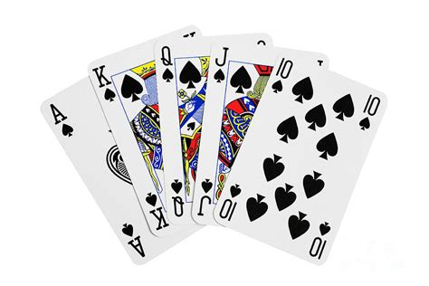 House Rules Design App by Playing Cards Royal Flush On White Background Photograph
