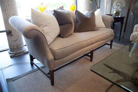 vintage camelback sofa in grey linen at 1stdibs