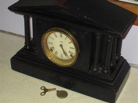 Shelf Clocks Antique by Antique Ingraham Calumet Model Wooden Black Mantel