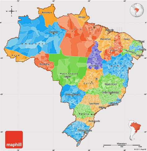 political map brazil political simple map of brazil cropped outside