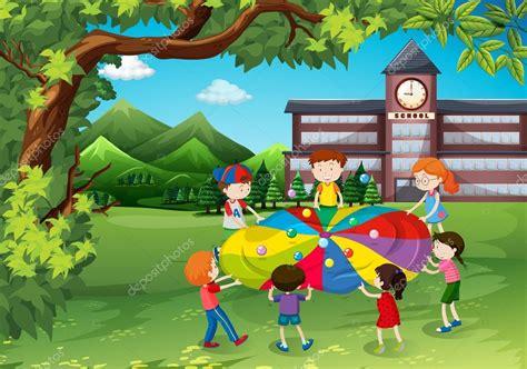 clipart bambini che giocano bambini che giocano nel cortile della scuola vettoriali