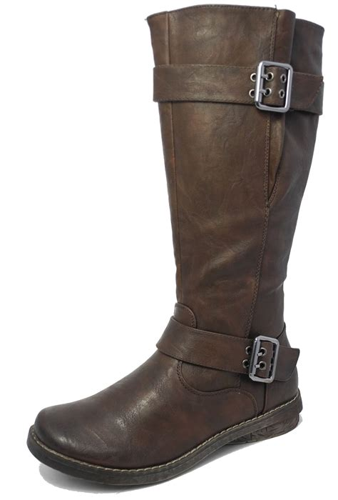 womens leather look knee length adjustable buckle gusset