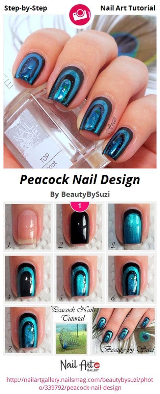tutorial nail art micheligna peacock nail design nail art gallery step by step