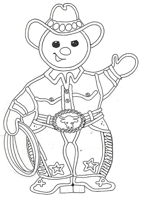 cowboy gingerbread man coloring page gingerbread man