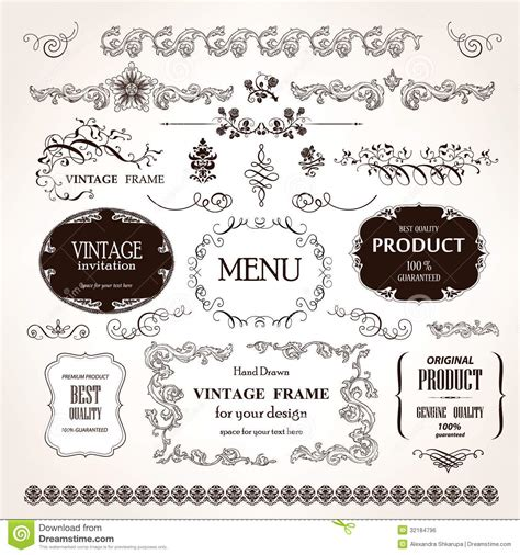 set of vector graphic elements royalty free stock photos vector frames and design calligraphic elements set royalty