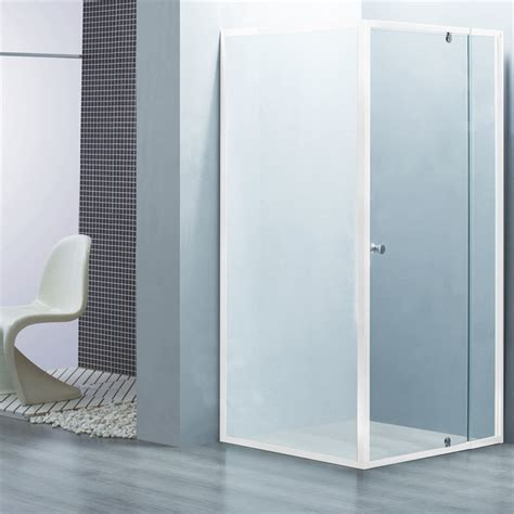 glass shower screens bath estilo 1830 x 840 900 x 870mm white framed glass shower screen