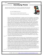 finding the theme of a story worksheets