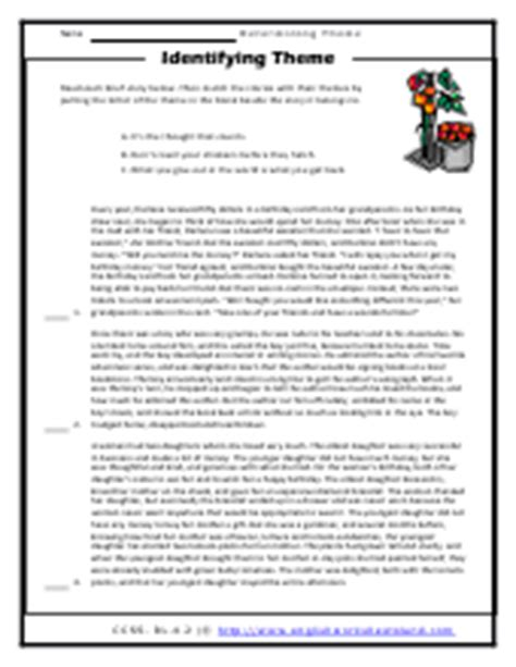 finding the theme of a story worksheets resultinfos finding the theme of a story worksheets