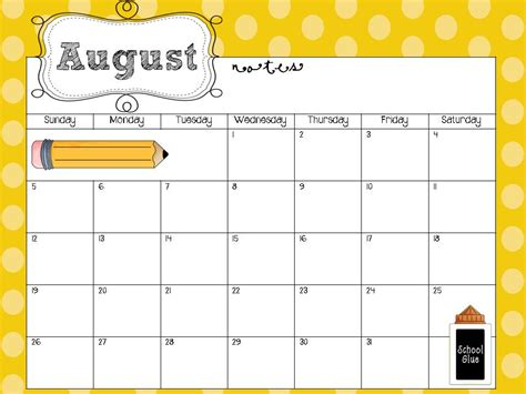 7 best images of kindergarten monthly calendar printable