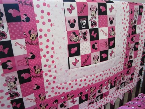 Minnie Mouse Quilt by Minnie Mouse Crib Toddler Bed Quilt By Quiltingthyme On Etsy