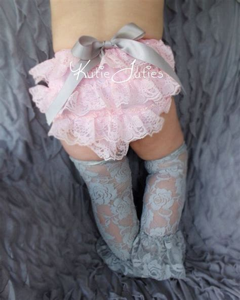 cake smash set pink and gray lace cover by kutietuties