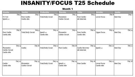 Insanity Workout Calendar Insanity Workout Calendar Month 1 Eoua
