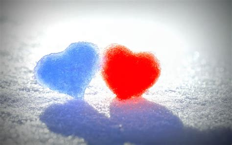 wallpaper blue red blue red snow hearts wallpapers hd wallpapers id 14317