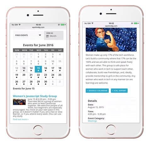 mobile view the events calendar by modern tribe