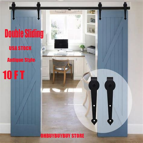 closet sliding door hardware 10 ft barn wood door closet hardware set antique style sliding arrow em ebay