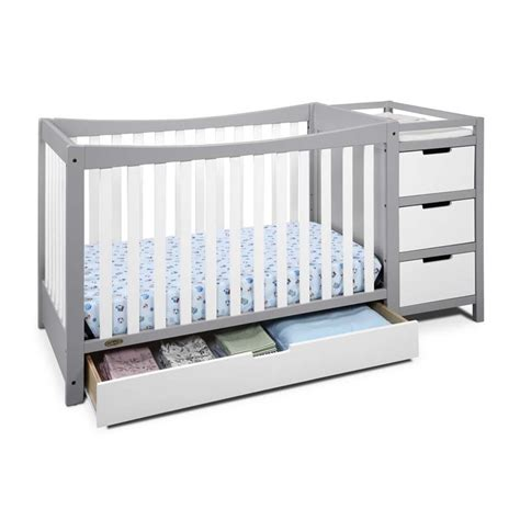 Graco Remi 4 In 1 Convertible Crib And Changer In White Gray Convertible Crib