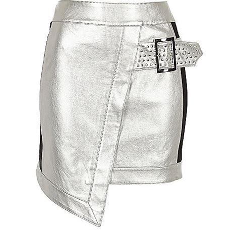 silver faux leather studded wrap mini skirt skirts
