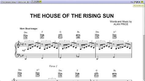 house of the rising sun music sheet quot the house of the rising sun quot by the animals piano sheet music teaser youtube