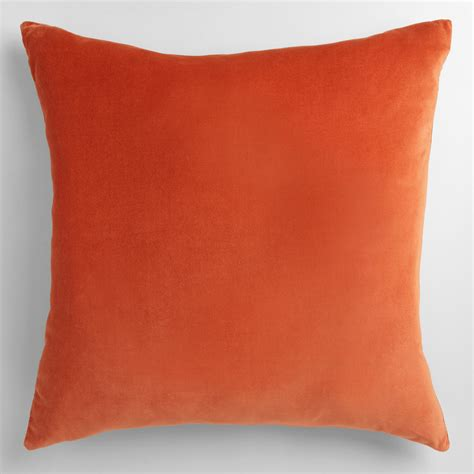 Orange Sofa Pillows Orange Velvet Throw Pillow World Market