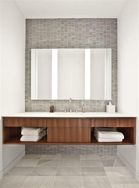 floating vanity  tile wall   mid century