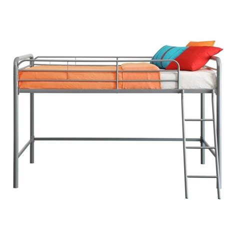 metal twin loft bed metal junior metal twin loft bed in silver 5458096