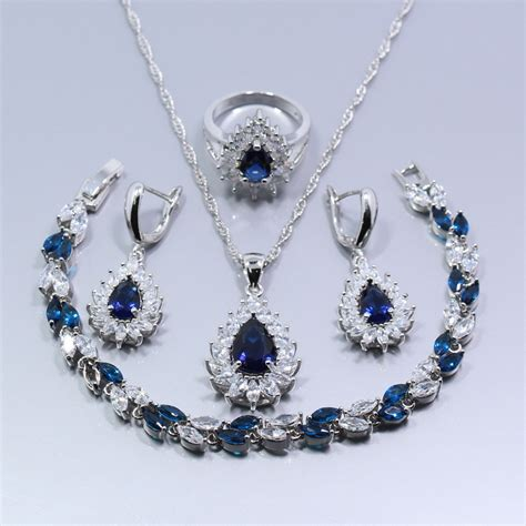 flawless 925 sterling silver 4pcs jewelry set blue