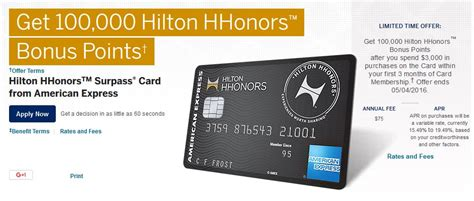 hilton hhonors card from american express earn hotel 100k points with the hilton hhonors surpass card from