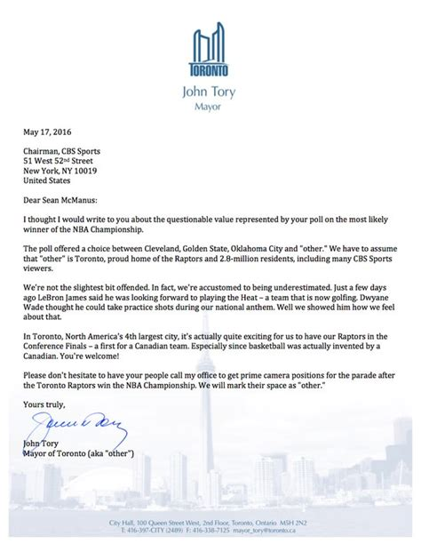 application letter address to the mayor i honestly can t believe the mayor of toronto wrote a