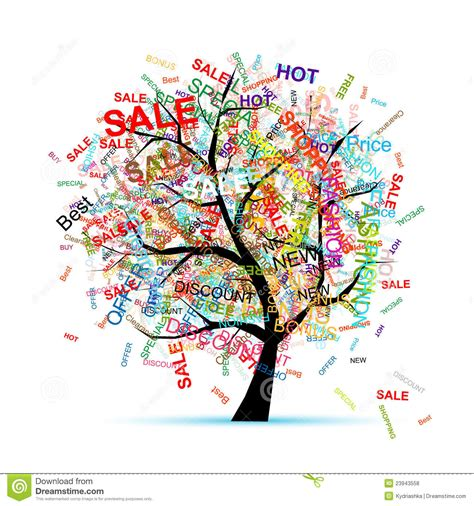 concept your design shopping tree concept for your design royalty free stock