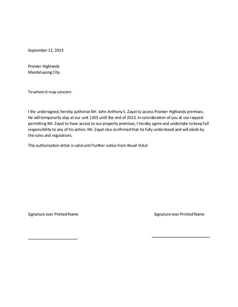 Authorization Letter Use Of Property Authorization Letter