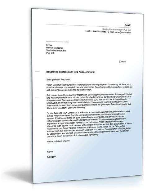 Kfz Lackierer Helfer by Anschreiben Bewerbung Maschinen Und Anlagenf 252 Hrer