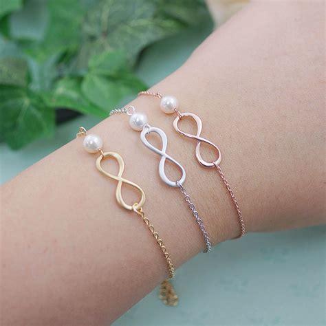 pearl infinity bracelet infinity and swarovski pearl bracelet infinity bracelet