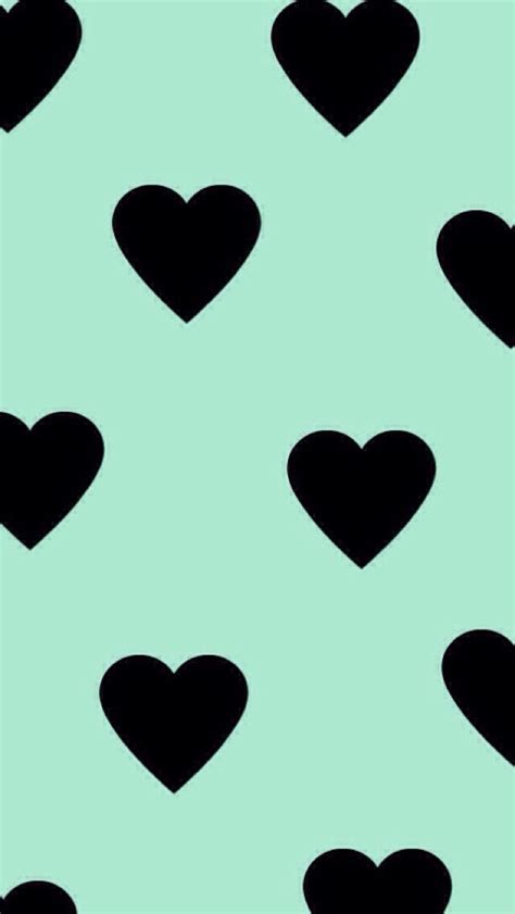 black heart pattern mint background black hearts pattern iphone wallpapers