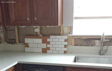 How To Install Subway Tile Kitchen Backsplash Duo Ventures Kitchen Makeover Subway Tile Backsplash Installation