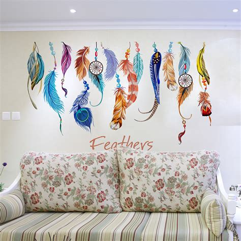 diy wall sticker mural feather sticker home decor