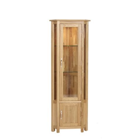 Glass Display Cabinet Light Oak Light Oak Display Cabinet Corner Glass Cranleigh Furniture