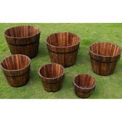 cedar wood whiskey barrel planters set of 6