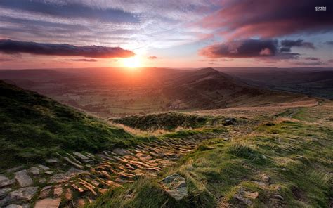 rocky path valley sunset view wallpapers rocky path