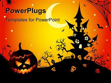 powerpoint template illustration of a halloween night 15361