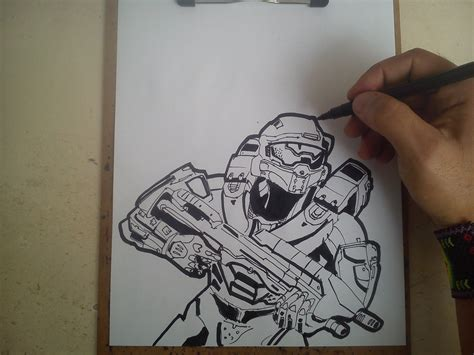 como dibujar a master chief halo 5 how to draw halo 5